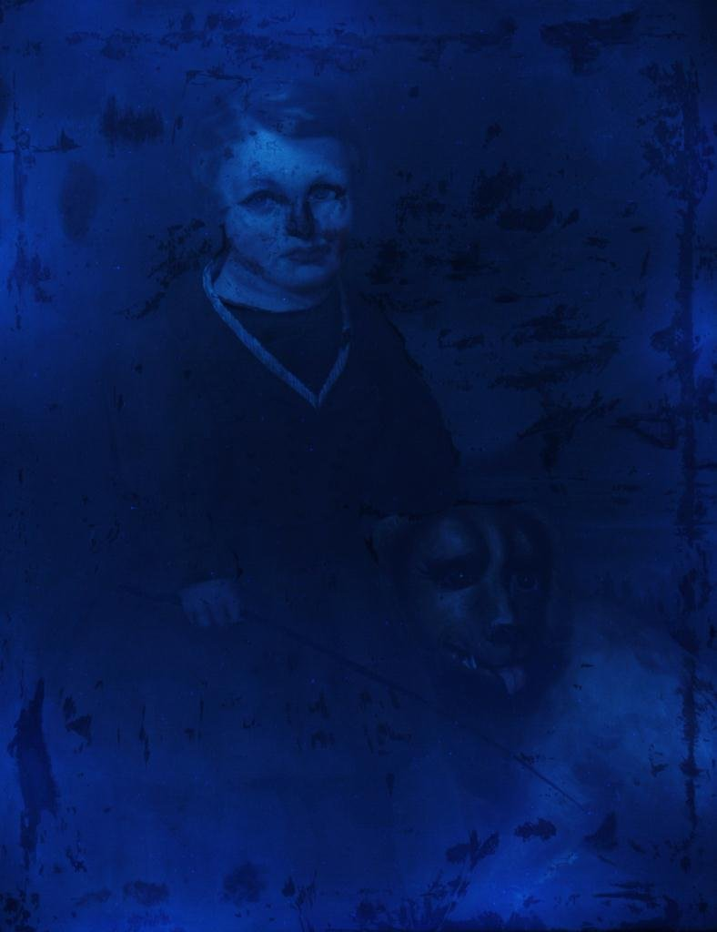 Oil on canvas Portrait of Boy & Dog, 19th century - 6