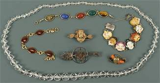 Assorted hardstone and Victorian jewelry, 7 pcs