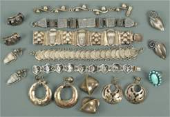 Assorted Silver jewelry, mostly Mexican