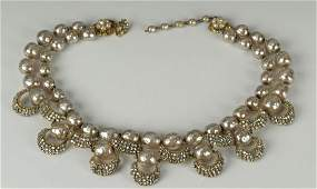 Miriam Haskell Pearl and Rhinestone Necklace