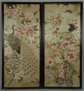 Pair Of Large Chinese Silk Embroidery Panels