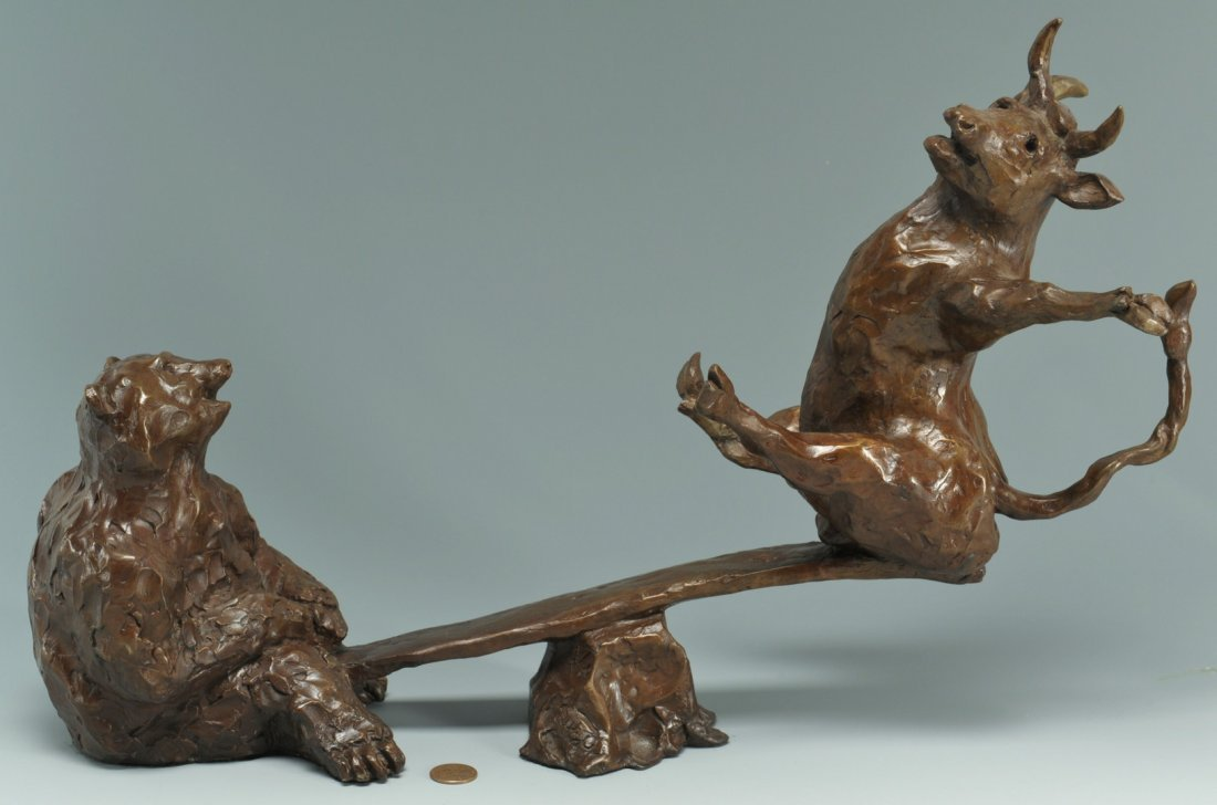 35: Susan Read Cronin Bull & Bear Bronze Sculpture