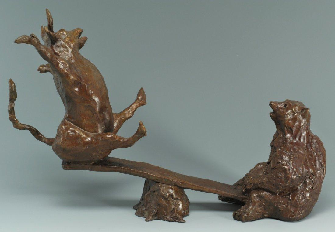 35: Susan Read Cronin Bull & Bear Bronze Sculpture - 2