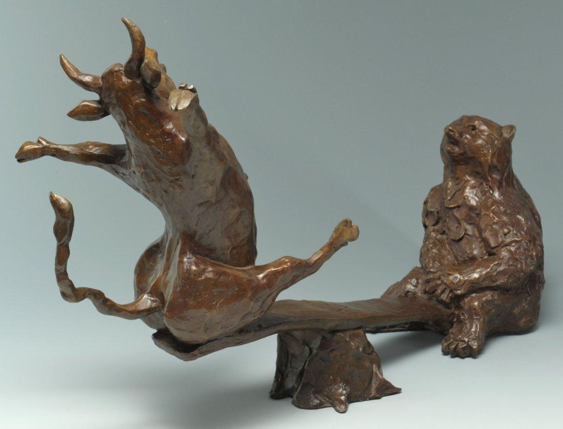 35: Susan Read Cronin Bull & Bear Bronze Sculpture - 3
