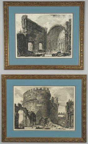 Two Giovanni B.Piranesi Etchings, Exterior Scenes