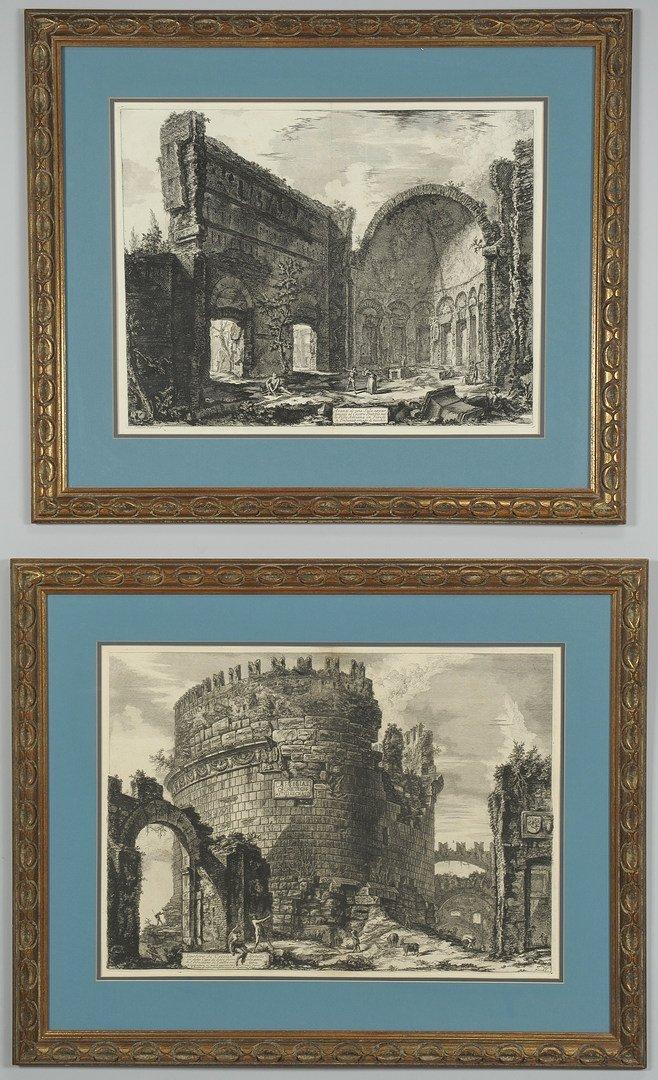 38: Two Giovanni B.Piranesi etchings, exterior scenes
