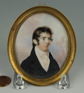 19th Cent. Portrait Miniature Of Dr. David Wharry