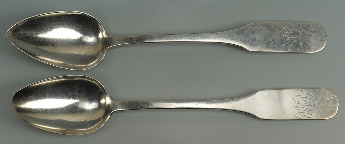 42: Two Nashville coin silver spoons, E. Raworth
