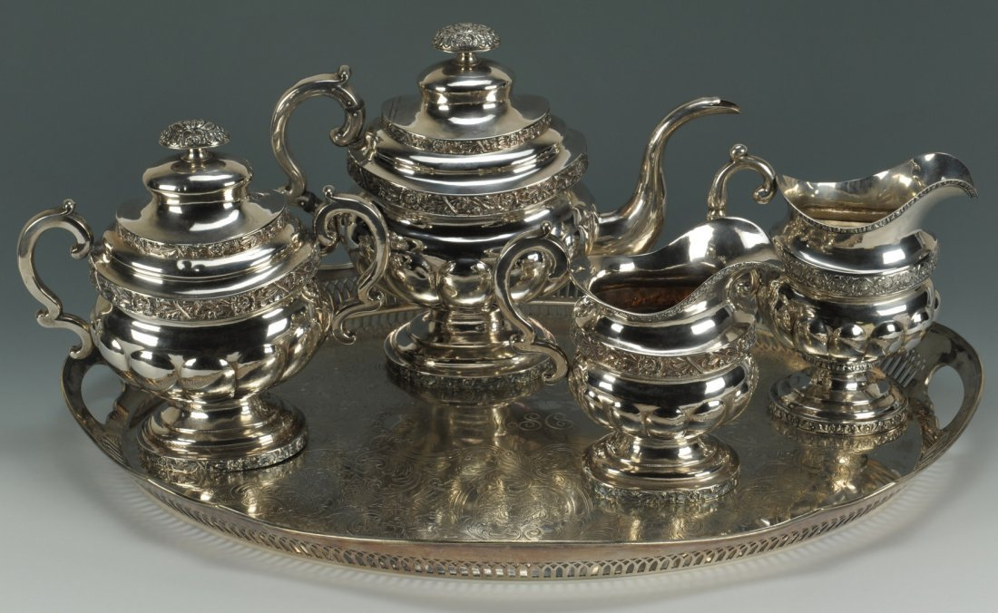 54: New York Coin Silver Tea Service plus tray and cre