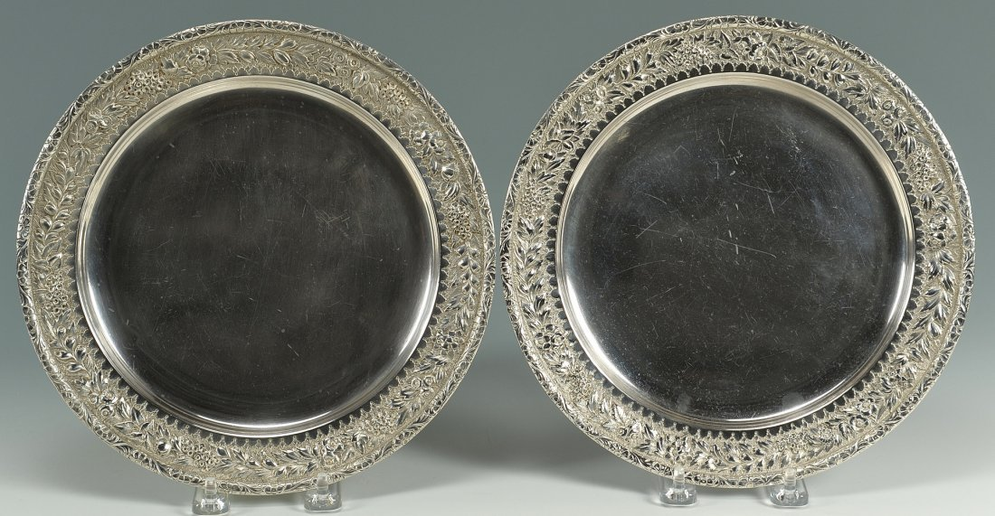 57: Pair of Tiffany Sterling Plates or Chargers