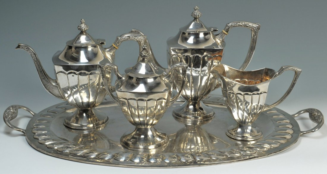 66: Mexican silver tea service and tray, over 15 lbs