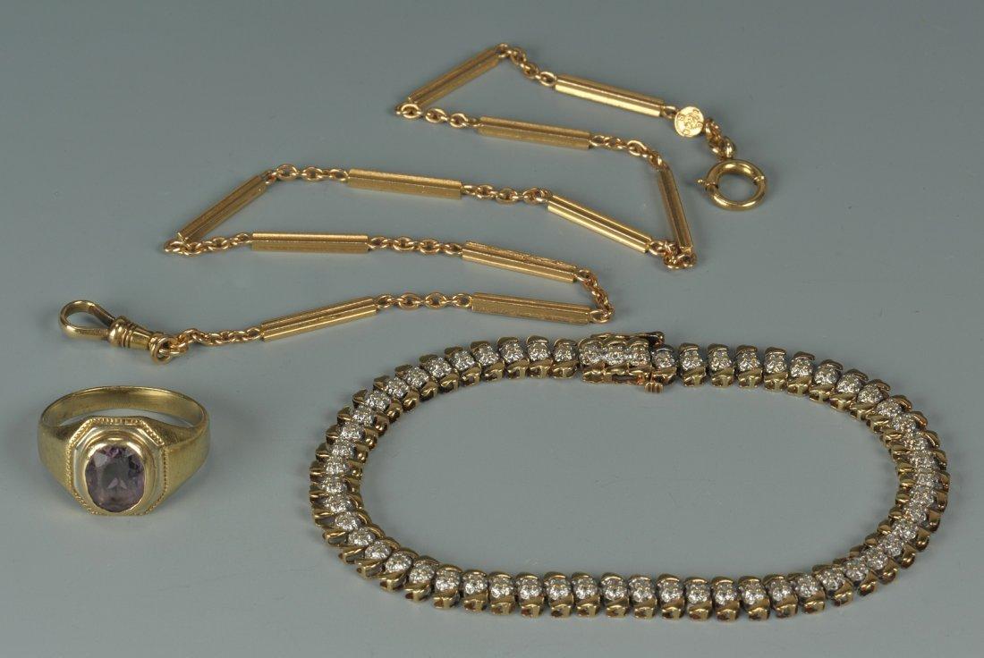 71: 14K ring, 14K watch chain, 10K dia bracelet