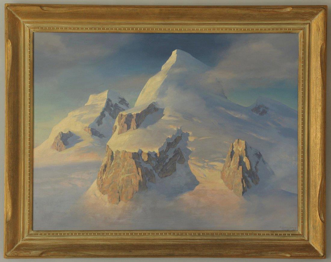 161: Leland Curtis oil on canvas, Antarctic Scene