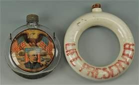 255: 2 American Flasks, Adm. Dewey, Life Preserver