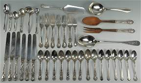 430 38 pcs assorted sterling flatware early patterns