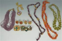 609 Vintage Miriam Haskell Jewelry 5 necklaces  2 br