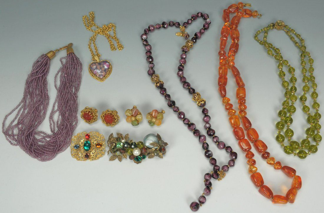 Vintage Miriam Haskell Jewelry, 5 necklaces + 2 br