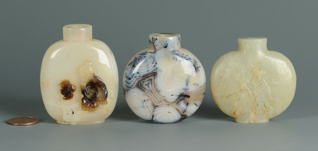5: 3 Chinese Snuff Bottles, Jade & Agate