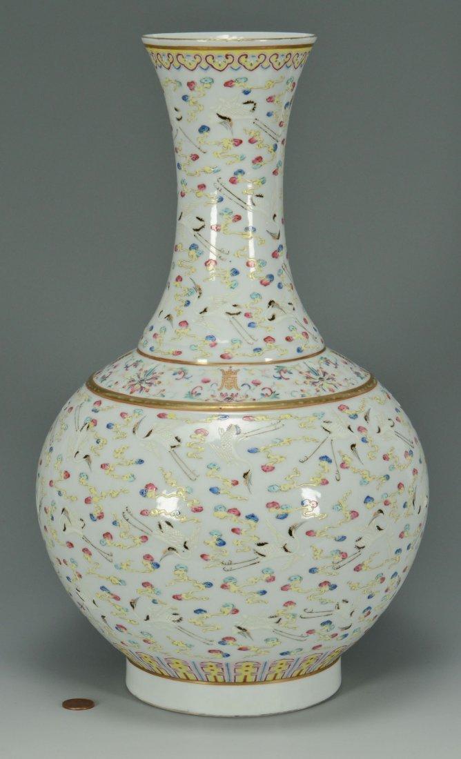 9: Chinese Porcelain Bottle Vase w/ Crane Decoration