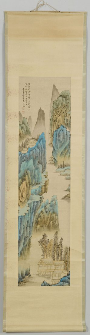 10: Chinese Blue/Green Mountainous Scroll Painting