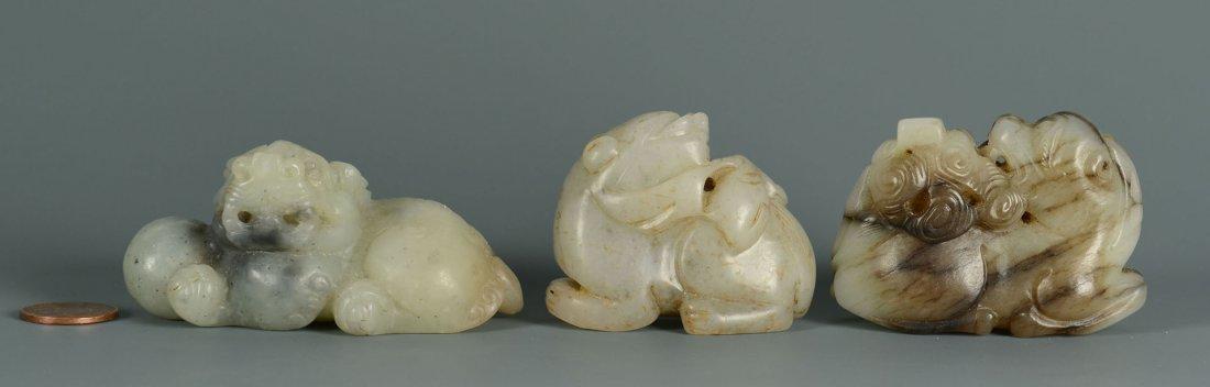 12: Group of 3 Celadon Jade Foo Dogs