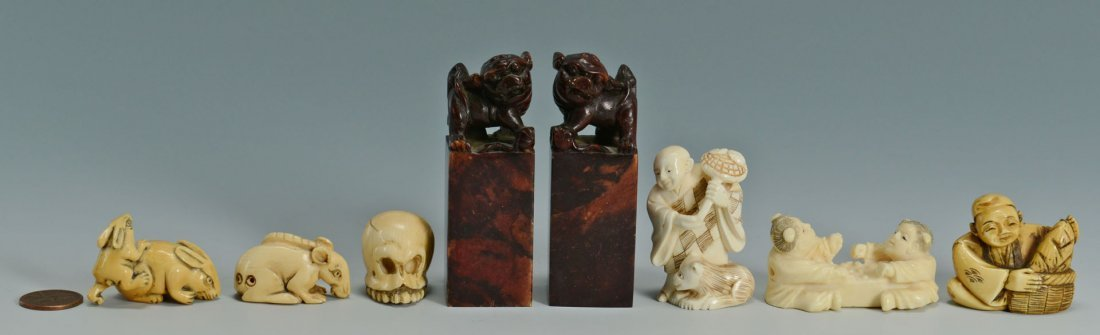 13: 8 Asian Ivory and Soapstone Items