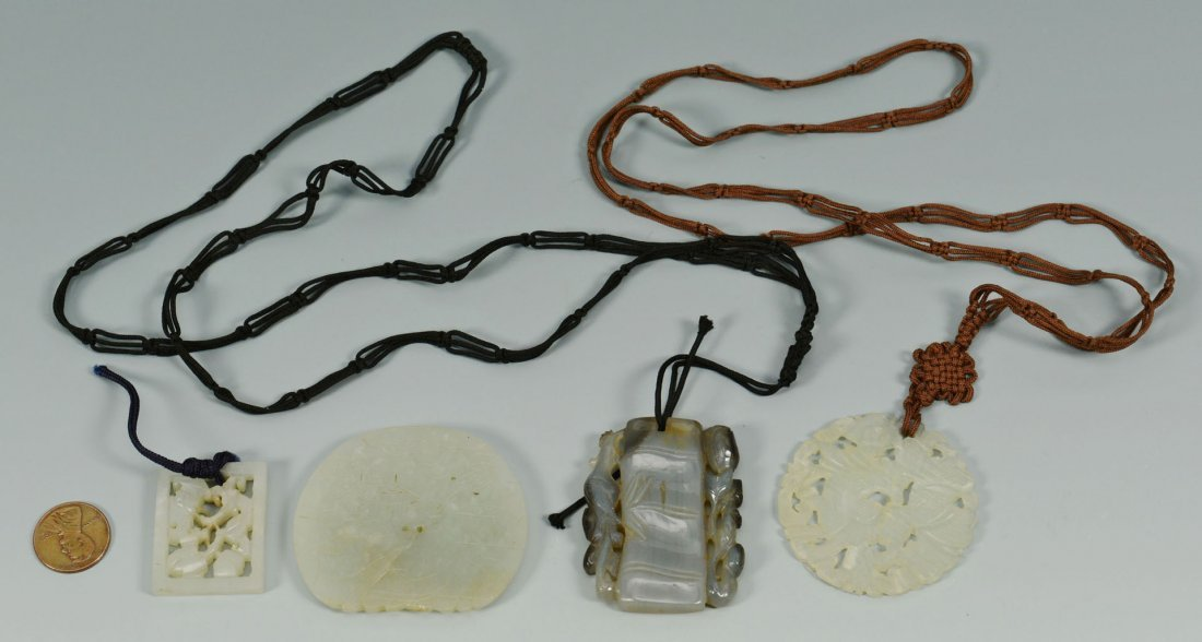 14: Three Chinese Jade Plaque Pendants plus other