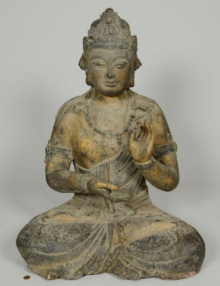 15: Large carved and gilt wood Buddha statue