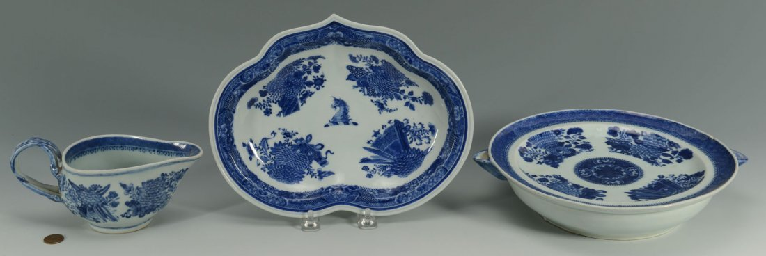 21: 3 Chinese Export Porcelain Blue Fitzhugh Items