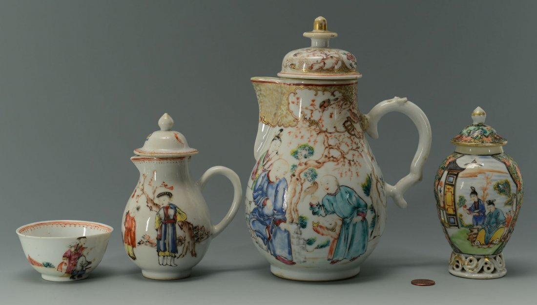 24: 4 Chinese Famille Rose Export Porcelain Items