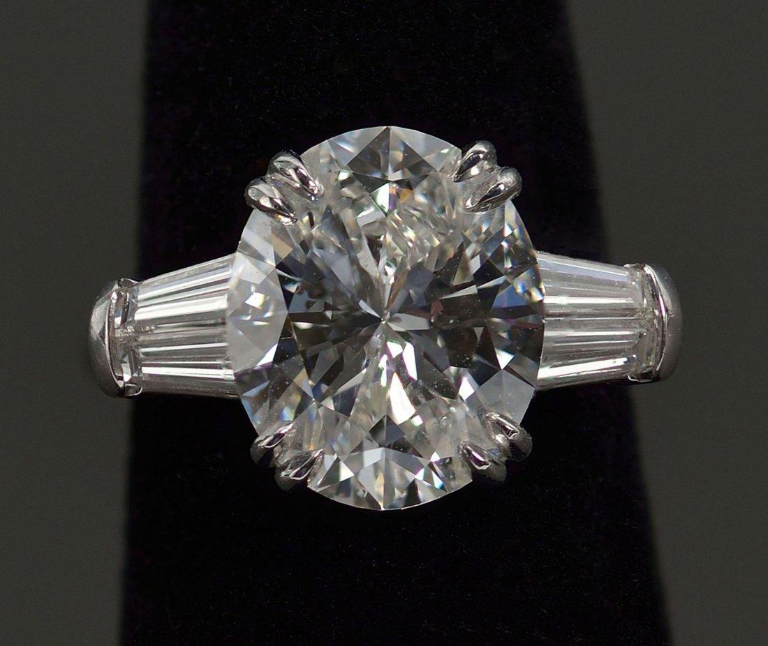 115: Plat Oval Brilliant 4.90 ct Diamond Ring, GIA repo