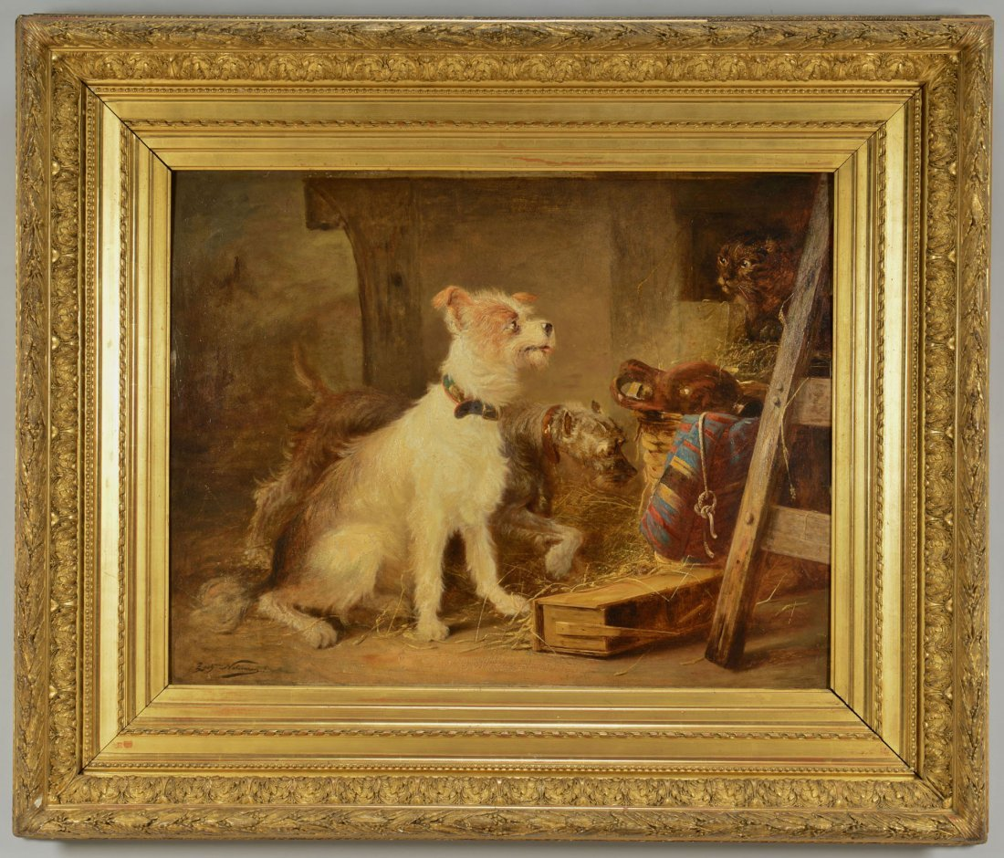 187: Z. Notermann oil on board, terriers with cat