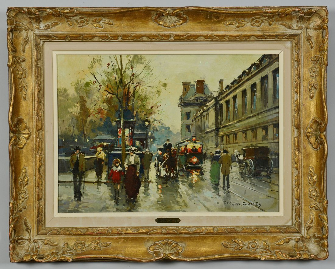 205: Edouard Cortes, Oil on Canvas Paris Street Scene