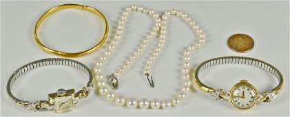 313 4 pcs Ladies Jewelry inc gold watches  pearls