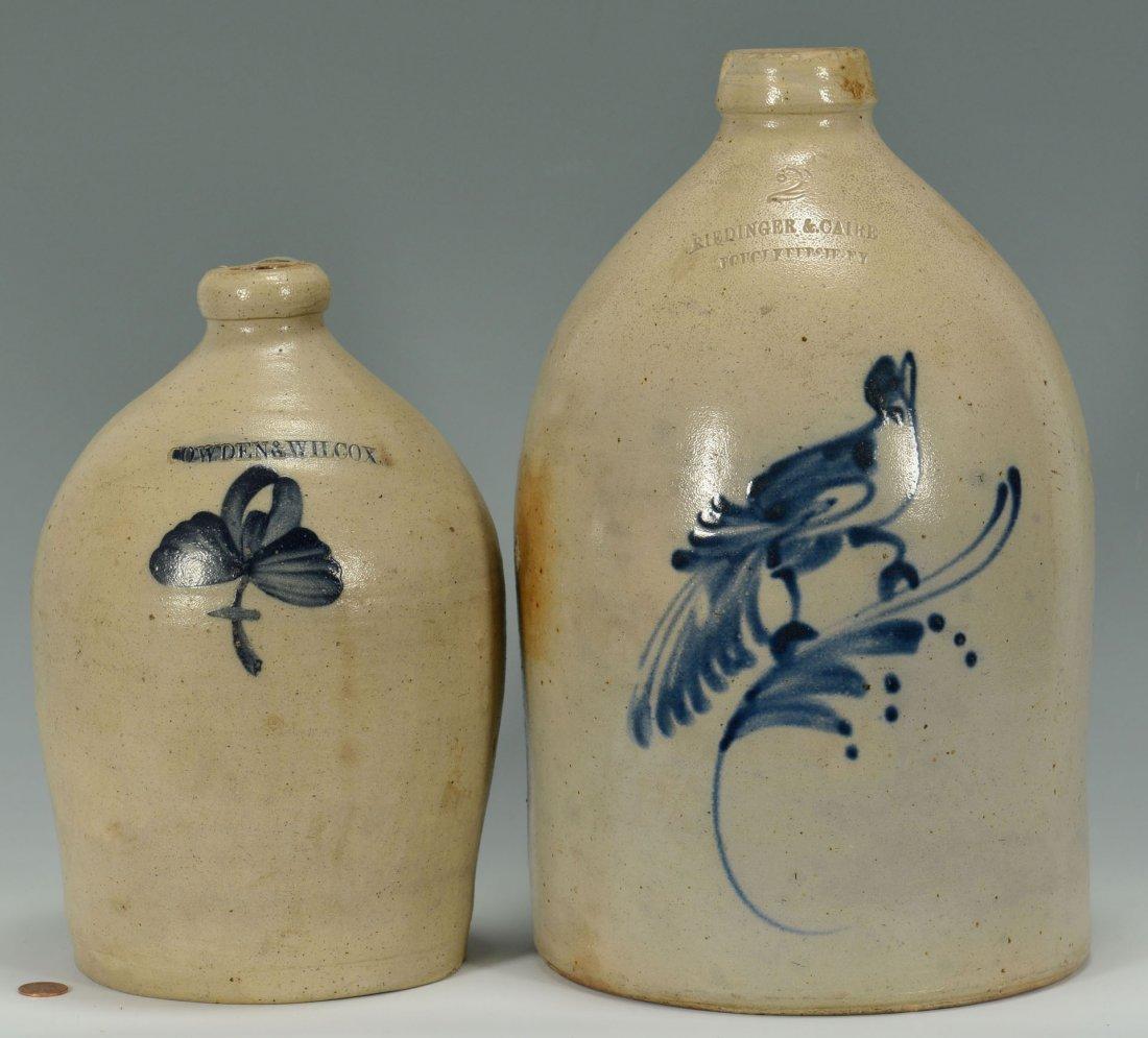 456: 2 Cobalt Decorated Stoneware Jugs, New England