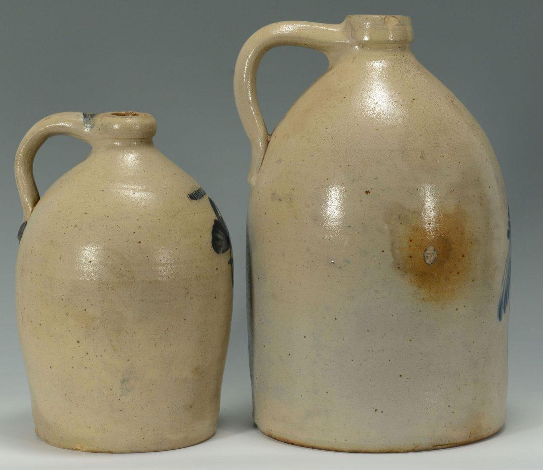 456: 2 Cobalt Decorated Stoneware Jugs, New England - 2