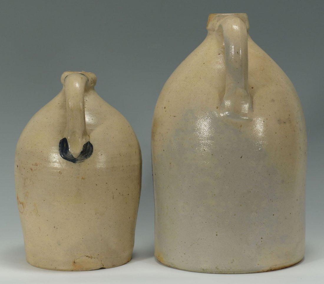 456: 2 Cobalt Decorated Stoneware Jugs, New England - 3