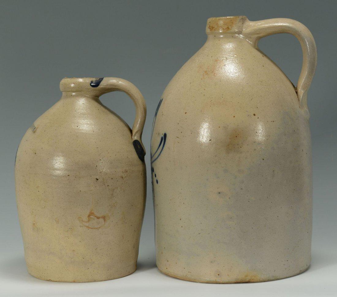 456: 2 Cobalt Decorated Stoneware Jugs, New England - 4