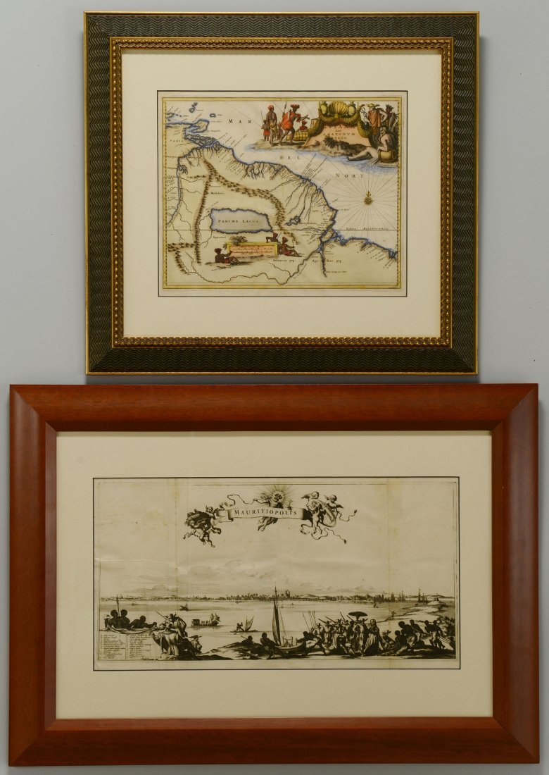 488: 17th Century S. American Map and Engraving, 2 item