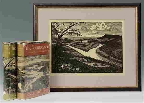 Theresa Davidson Woodblock Print and Books, 1 sign