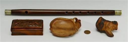 497 3 Folk Art Carvings and a Civil War Fife 4 items