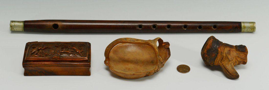 497: 3 Folk Art Carvings and a Civil War Fife (4 items)