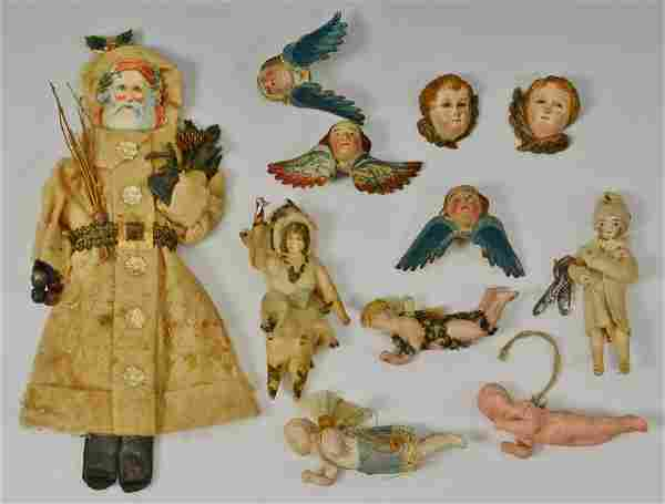 Grouping of early German Christmas ornaments