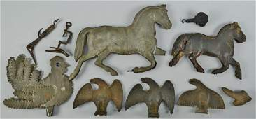 539 10 iron and tin animal related items 19th c