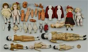 27 Miniature China & Bisque Dolls w/ 3 Figures