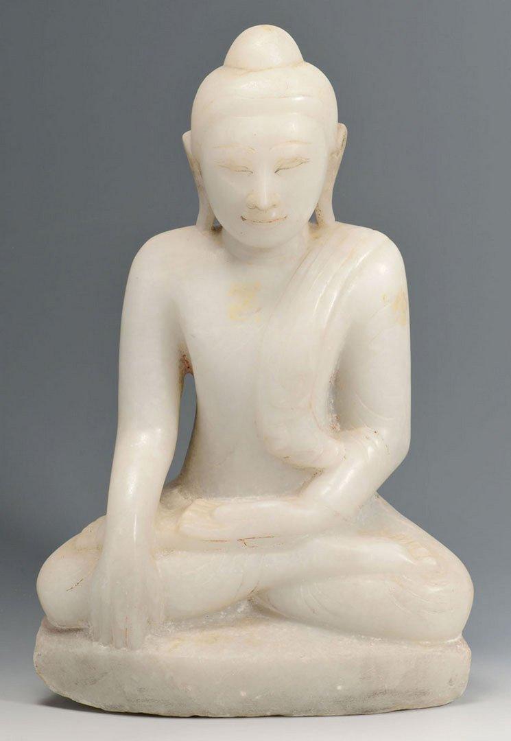 Large White hardstone Buddha Sculpture
