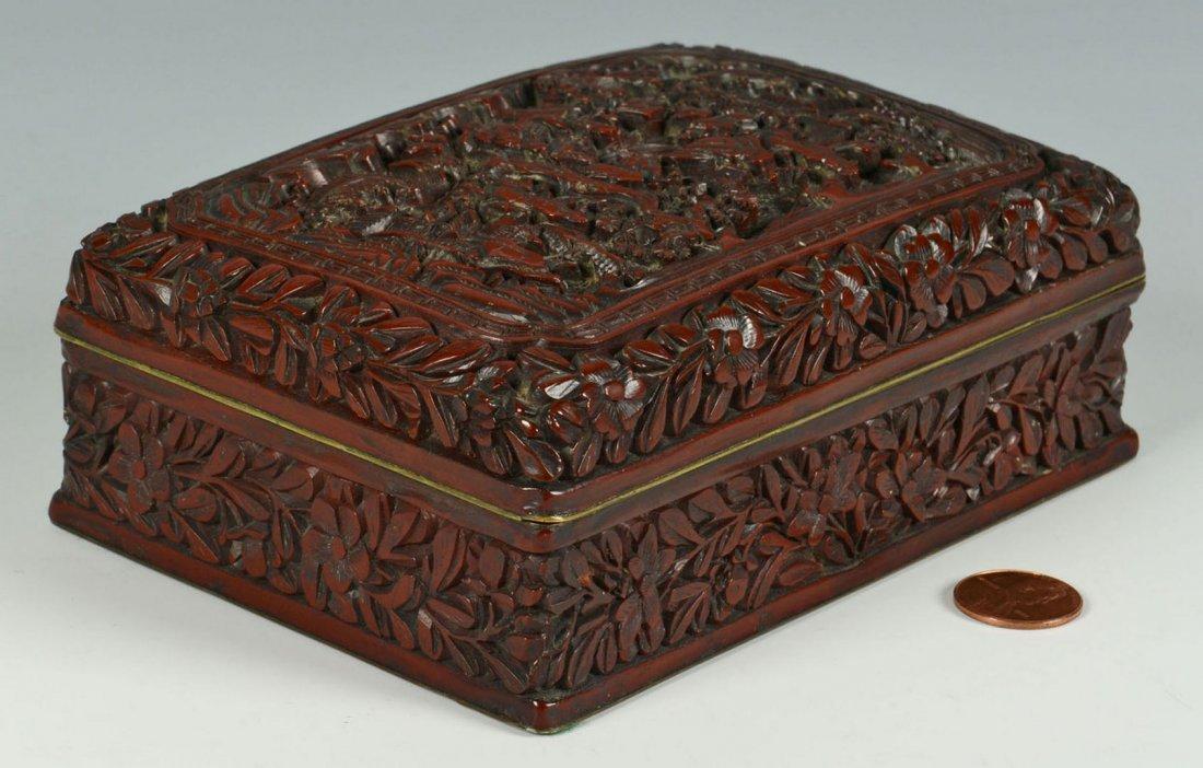 19th century Carved Chinese Cinnabar Box