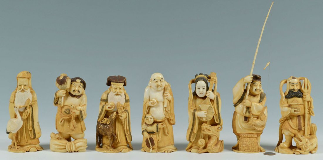 "Set of Large Japanese Carved Ivory ""7 Lucky Gods"""