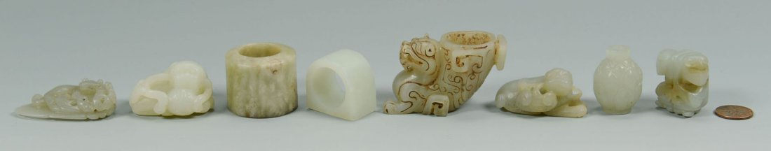 Grouping of 8 Carved Chinese Jade Articles