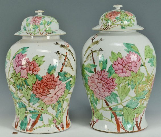 Pr. of Large Chinese Famille Rose Ginger Jars